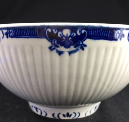 Worcester punch bowl, ribbed form with underglaze lambrequin borders, c.1765 -26036
