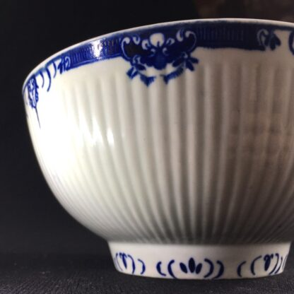 Worcester punch bowl, ribbed form with underglaze lambrequin borders, c.1765 -26035