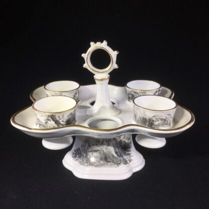 English porcelain egg stand & cups, bat printed with Regency prints, c. 1825 -0