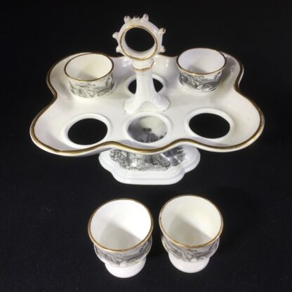 English porcelain egg stand & cups, bat printed with Regency prints, c. 1825 -26144