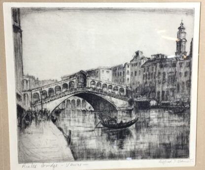 Alfred Bennet (1861-1916) - Rialto Bridge, Venice - drypoint etching-0