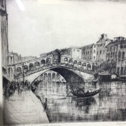 Alfred Bennet (1861-1916) - Rialto Bridge, Venice - drypoint etching-26255