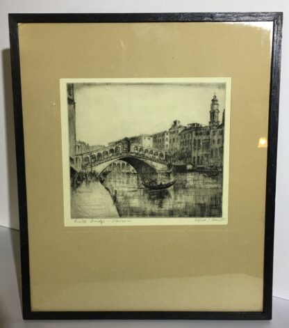 Alfred Bennet (1861-1916) - Rialto Bridge, Venice - drypoint etching-26256