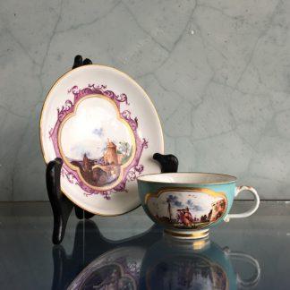 Meissen cup & saucer, harbour scenes, turquoise ground, c.1745 -0