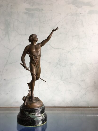 French bronze figure of Victory, by Emile Louis Picault (1839-1915), late 19th century-0
