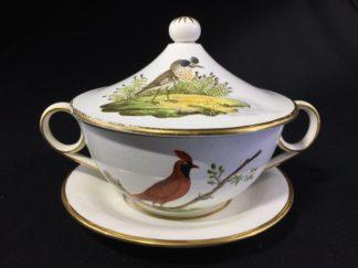 Davenport covered bowl & stand, ornithological birds inc. Virginian Nightingale, c. 1810-0