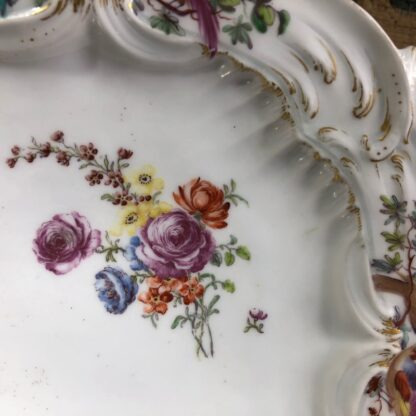Chelsea plate, Rococo moulding with birds & flowers, Gold Anchor circa 1760-30334