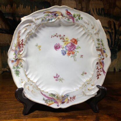 Chelsea plate, Rococo moulding with birds & flowers, Gold Anchor circa 1760-0