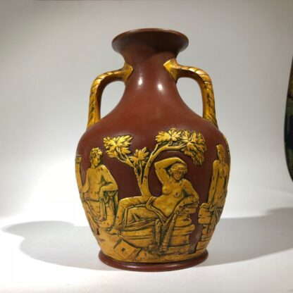 Redware 'Portland Vase' with gilt lacquer finish, Schiller, c.1860-30490