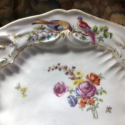 Chelsea plate, Rococo moulding with birds & flowers, Gold Anchor circa 1760-30333
