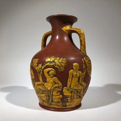 Redware 'Portland Vase' with gilt lacquer finish, Schiller, c.1860-0