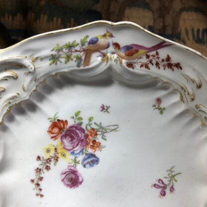 Chelsea plate, Rococo moulding with birds & flowers, Gold Anchor circa 1760-30330