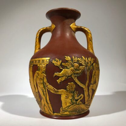 Redware 'Portland Vase' with gilt lacquer finish, Schiller, c.1860-30492