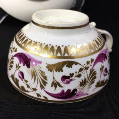 Derby cup & sacuer, pat. 52, scrolling purple & gilt foliage, c.1820-27816