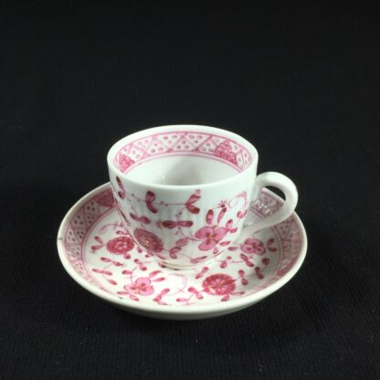 Miniature porcelain cup and saucer, puce Immortelle pattern, Rauenstein, c.1890-0