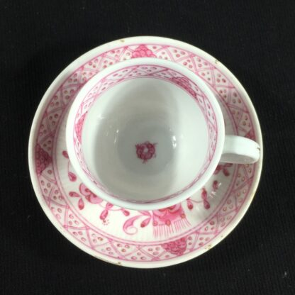 Miniature porcelain cup and saucer, puce Immortelle pattern, Rauenstein, c.1890-26371