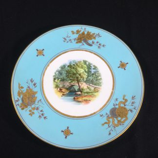 Wedgwood bone china plate, country bridge scene, c.1870 -0