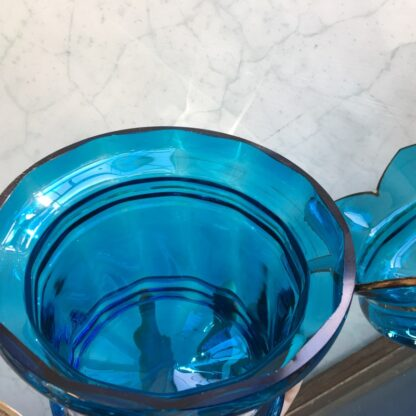 Large Victorian blue glass centerpiece with white enamel scene, c. 1890-26335