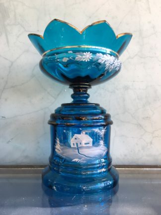 Large Victorian blue glass centerpiece with white enamel scene, c. 1890-0