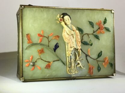Chinese jade box with ivory, red coral, lapis & tortoiseshell figure of a lady, Qing dynasty, 19th century-26417