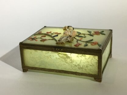 Chinese jade box with ivory, red coral, lapis & tortoiseshell figure of a lady, Qing dynasty, 19th century-26412