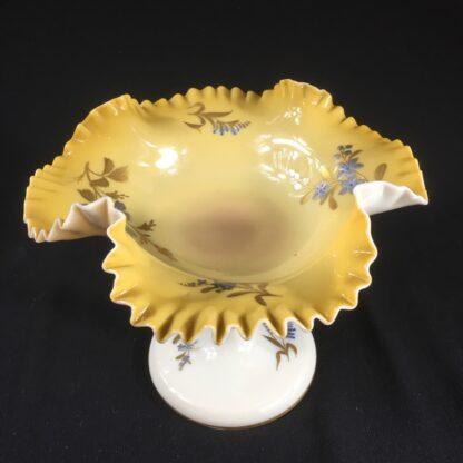 Unusual Victorian glass frill comport with gold & platinum dec, c. 1890-26680