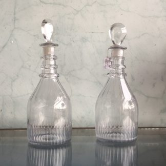 Pair of Georgian decanters, pear shape stoppers, c. 1790-0