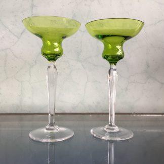 Pair of green Val Saint Lambert candlesticks, 20th century-0