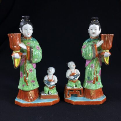 Pair of Rare Chinese candlestick figures, Ladies Children & Birds, c. 1780,-0