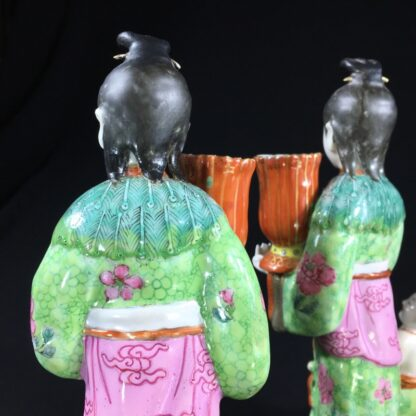 Pair of Rare Chinese candlestick figures, Ladies Children & Birds, c. 1780,-28273