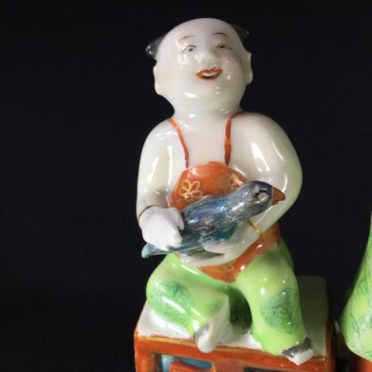 Pair of Rare Chinese candlestick figures, Ladies Children & Birds, c. 1780,-28274