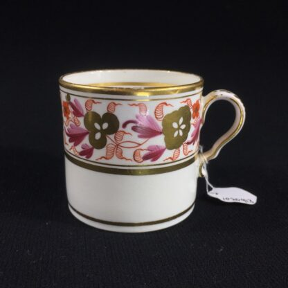 Spode coffee can, pattern #889, gilt & red flower frieze, c. 1820-0