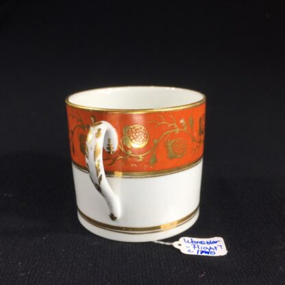 Worcester coffee can, orange & gilt strawberry pattern, c. 1800-26504