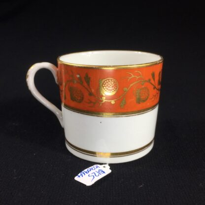 Worcester coffee can, orange & gilt strawberry pattern, c. 1800-26505