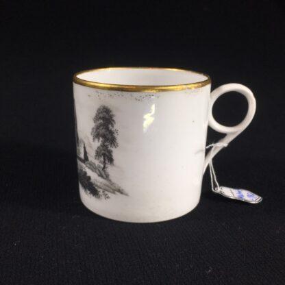 English porcelain coffee can, scenic bat print, poss. Machin c.1810 -26492