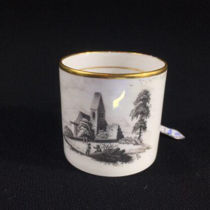 English porcelain coffee can, scenic bat print, poss. Machin c.1810 -26493
