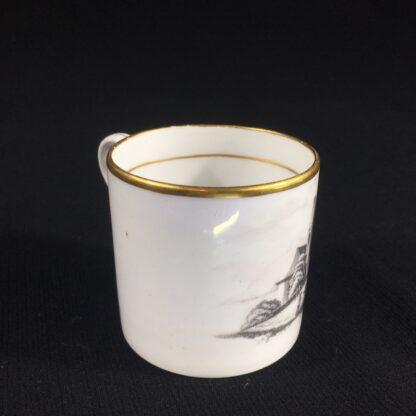 English porcelain coffee can, scenic bat print, poss. Machin c.1810 -26491