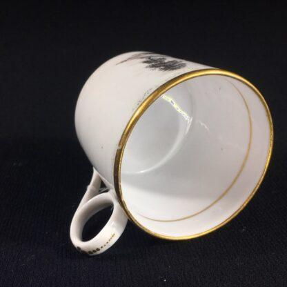 English porcelain coffee can, scenic bat print, poss. Machin c.1810 -26495