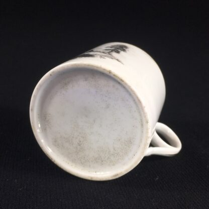 English porcelain coffee can, scenic bat print, poss. Machin c.1810 -26496