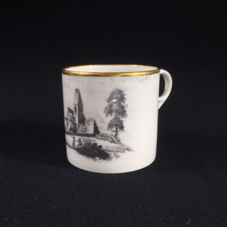 English porcelain coffee can, scenic bat print, poss. Machin c.1810 -0