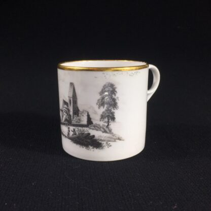 English porcelain coffee can, scenic bat print, poss. Machin c.1810 -0