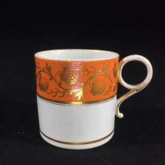 Barr Worcester coffee can, orange & gilt strawberry pattern, c. 1800-0