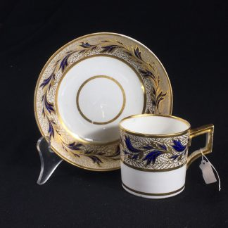 Derby coffee can & saucer, gilt & blue foliage, c. 1810 -0