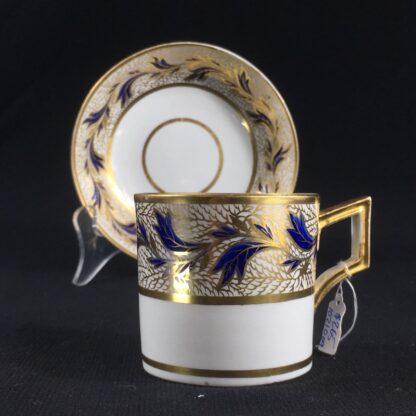 Derby coffee can & saucer, gilt & blue foliage, c. 1810 -26470