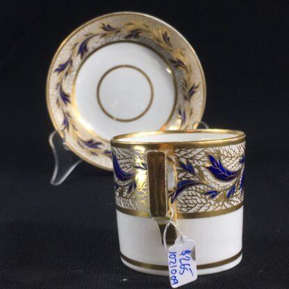 Derby coffee can & saucer, gilt & blue foliage, c. 1810 -26469