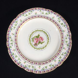 Chamberlains Worcester plate, Roses & wreath pattern, c. 1810-0