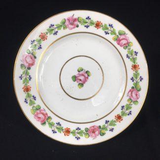 Derby plate, roses honeysuckle & cornflowers, c. 1800-0