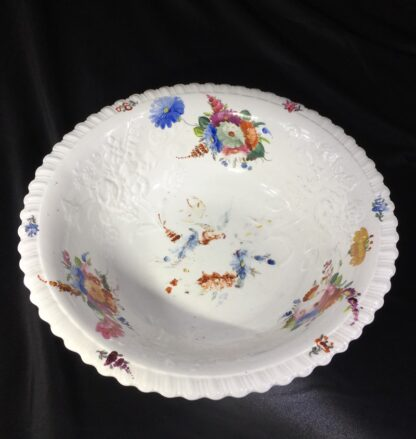 Large Coalport basin, flower moulding & painted, c. 1840-28028