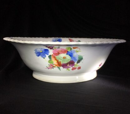Large Coalport basin, flower moulding & painted, c. 1840-0