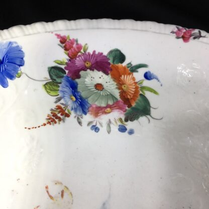 Large Coalport basin, flower moulding & painted, c. 1840-28026